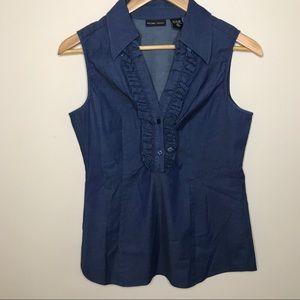 New York & Company Blue Ruffled Sleeveless Top